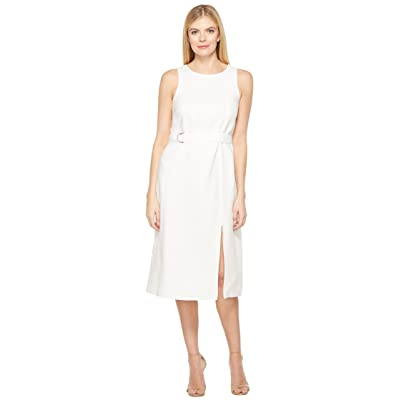 Ellen Tracy Belted Column Dress (White) Women