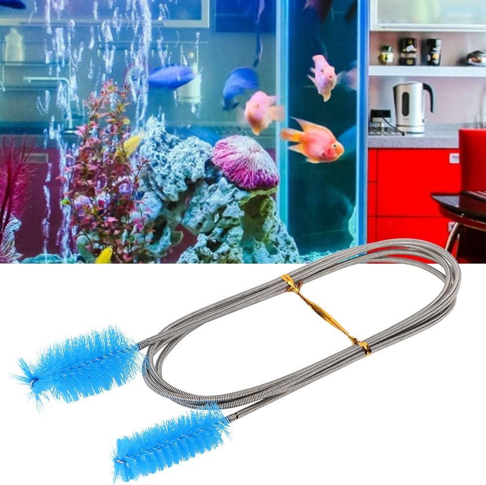 Cepillo de Limpieza de Tubos de Acuario Alambre de Nylon de Doble Cabeza Flexible Cepillo de Resorte de Acero Inoxidable Herramienta de Limpieza del Filtro de Tanque Azul