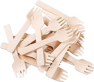 """ظروف چنگال قاشق چنگال 2 در 1 (100 عدد / کیسه) GM1058A Gmark 4 """"Mini Wooden Spork 100 ct"""