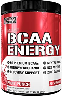 Evlution Nutrition BCAA Energy - High Performance Amino Acid Supplement for Anytime Energy, Muscle Building, Recovery and Endurance, Pre Workout, Post Workout (Fruit Punch, 30 Servings)