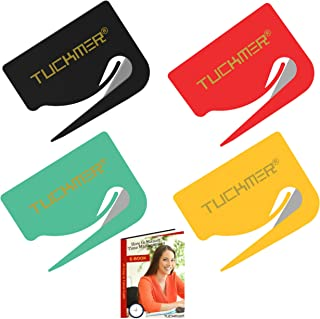 Letter Opener Envelope Slitter - Mail Opener for Women, Men, Office, Home & Business Travelers - Openers with Safety Concealed Razor Blade and Guiding Tip for Perfect Cut - Set of 4 (Assorted Colors)