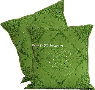 DK Homewares Décoratif Miroir Brodé Perroquet Vert 60 x 60 cm Housse de Coussin Coton Ethnique bohème Carré Géométrique Fl...