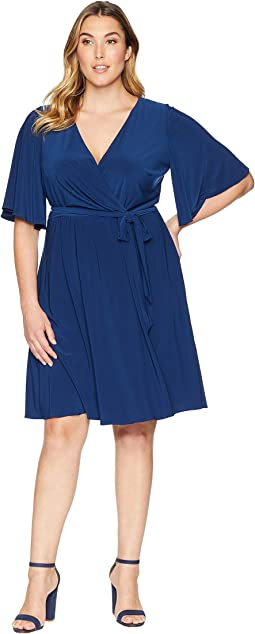 Plus Size Matte Jersey Wrap Dress with Full Elbow Sleeve