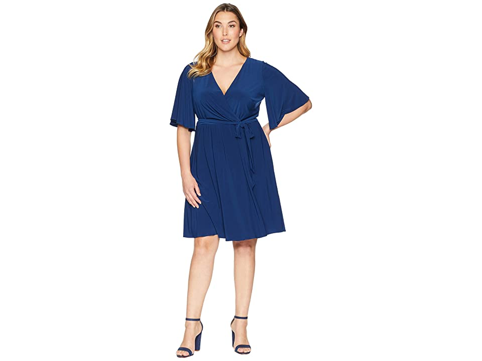 Adrianna Papell Plus Size Matte Jersey Wrap Dress with Full Elbow Sleeve (Navy Sateen) Women