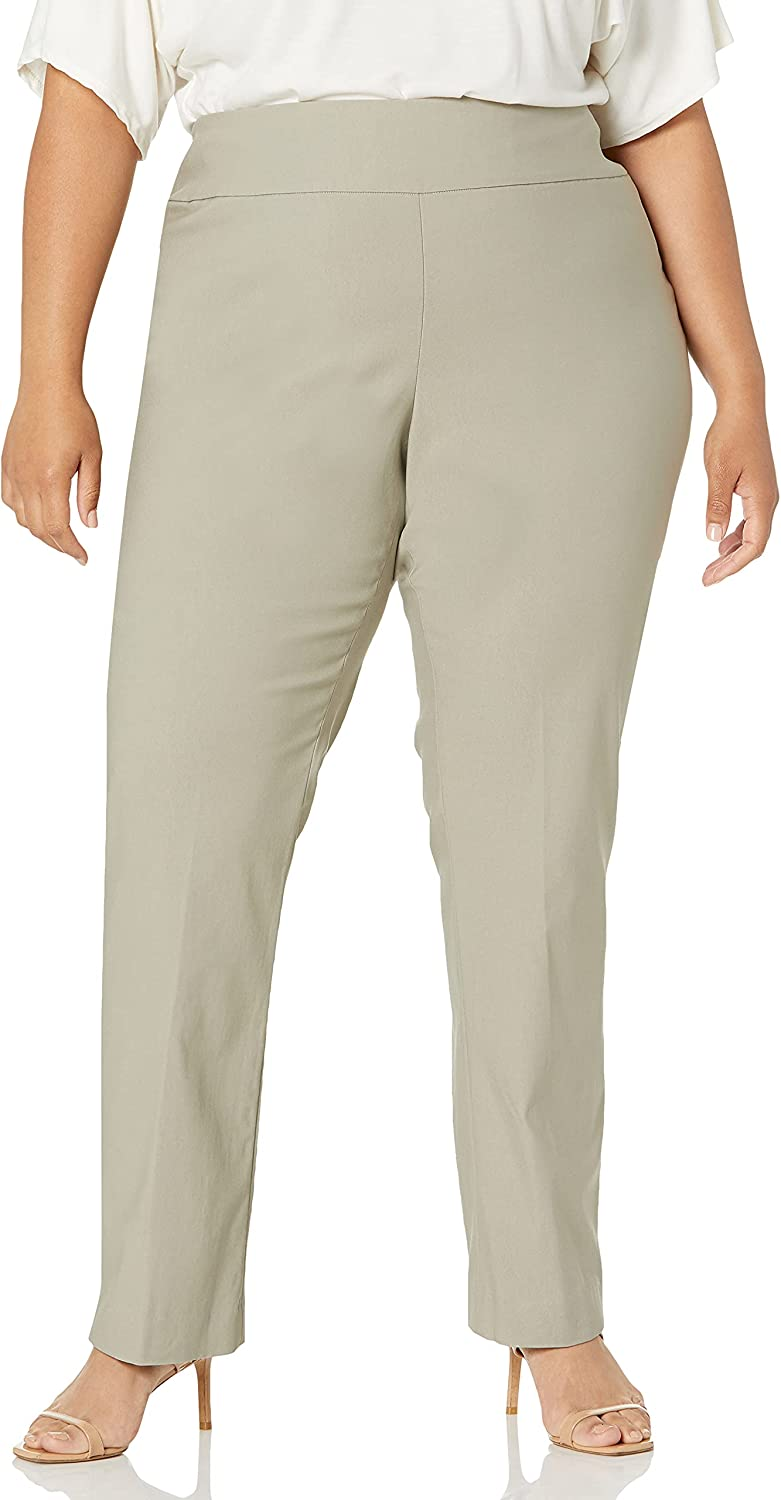 SLIM-SATION Women's Plus Size Pull on Wide Elastic Waist Button Vent Print Twill Crop Pant