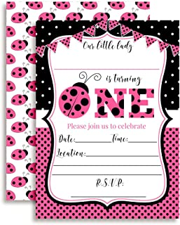 Pink Ladybug First Birthday Party Invitations for Girls, 20 5