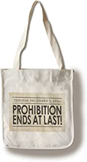 Prohibition Newspaper Cover - Ends at Last - Vintage Photograph (100% Cotton Tote Bag - Reusable)