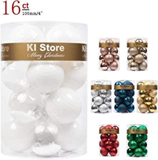 KI Store Large Christmas Balls White 4-Inch Shatterproof Christmas Tree Ball Ornaments Decorations for Xmas Trees Wedding Party Home Decor