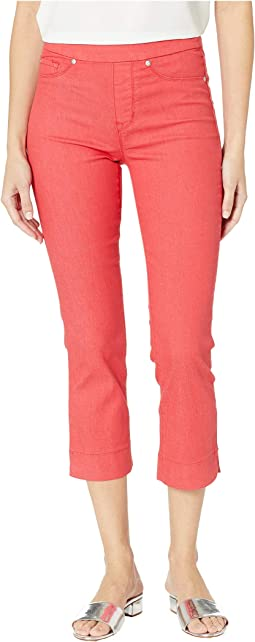 Soft Touch Denim Pull-On Capris w/ Side Slit in Teaberry