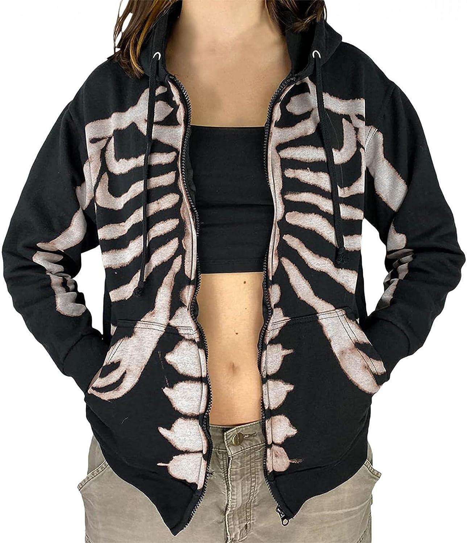Qunkii Women's Sweatshirt Y2K Zip Up Hoodie Skeleton Graphic Jac
