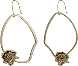Asymmetrical Floral Hoop Earrings