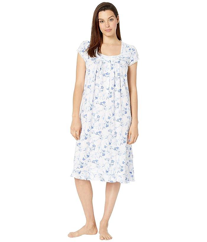 Eileen West Cotton Modal Knit Cap Sleeve Waltz Nightgown (White Ground Trumpet) Women