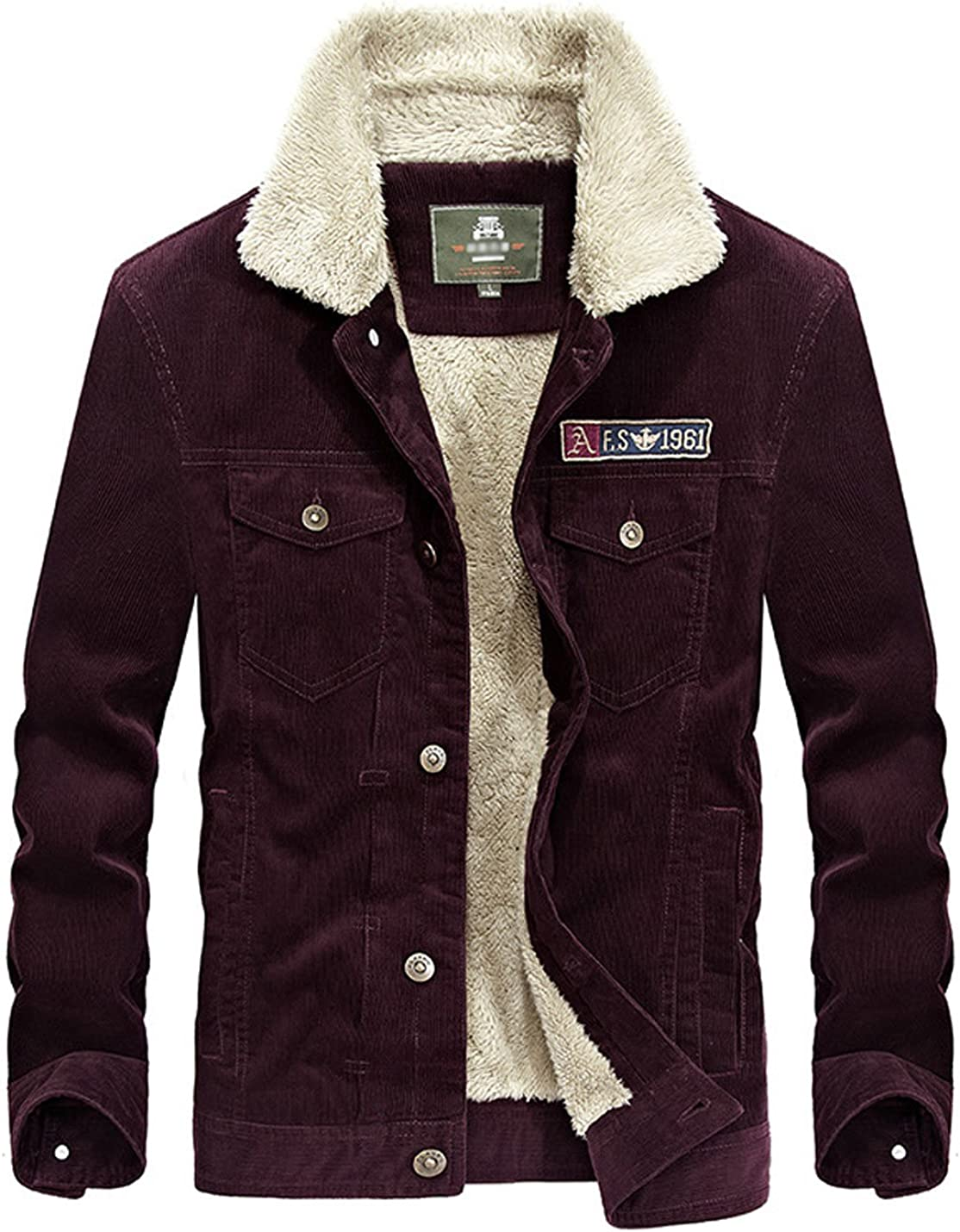 Yeokou Men's shipfree Vintage Slim Sherpa Corduroy Trucke Lined 67% OFF of fixed price Shearling