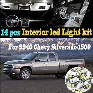 14Pcs White 6000K Interior LED Light Kit Package Compatible for 1999-2010 Chevrolet Silverado/1500/HD