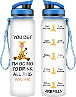LEADO 32oz 1Liter Motivational Tracking Water Bottle with Time Marker - You Bet Giraffe I'm Going to Drink All This Water - Funny Birthday Gift for Women Best Friend, Mom, Daughter - Drink More Water