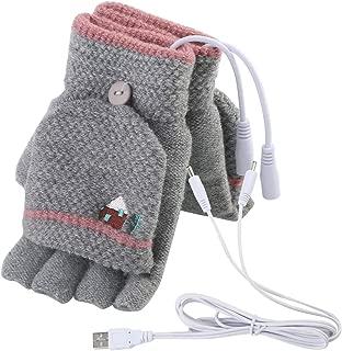 Men's Women's USB Heated Gloves Mitten, USB Hand Warmers Winter Warm Full..
