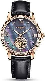 Luxury Hollow Automatic Mechanical Luminous Waterproof Women's Leather Strap Diamond Watches