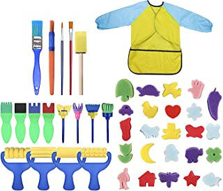 DAYONG 42pcs Painting Kits for Kids Early Learning Kids Paint Set,Sponge Drawing Shapes Paint Craft Brushes for Toddlers A...