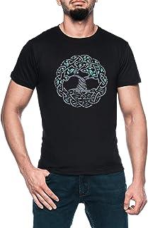 Céltico Árbol De Vida Hombre Negro Camiseta Manga Corta Men's Black T-Shirt