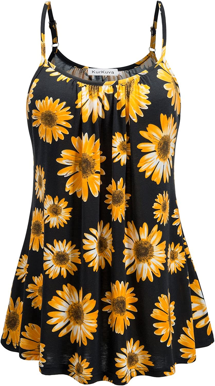 KurKuva Women's Basic Camisole Casual Strap Flowy Shirt Cami Tank Top