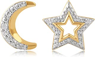 Diamond Accent Moon and Star Mix and Match Stud Earring
