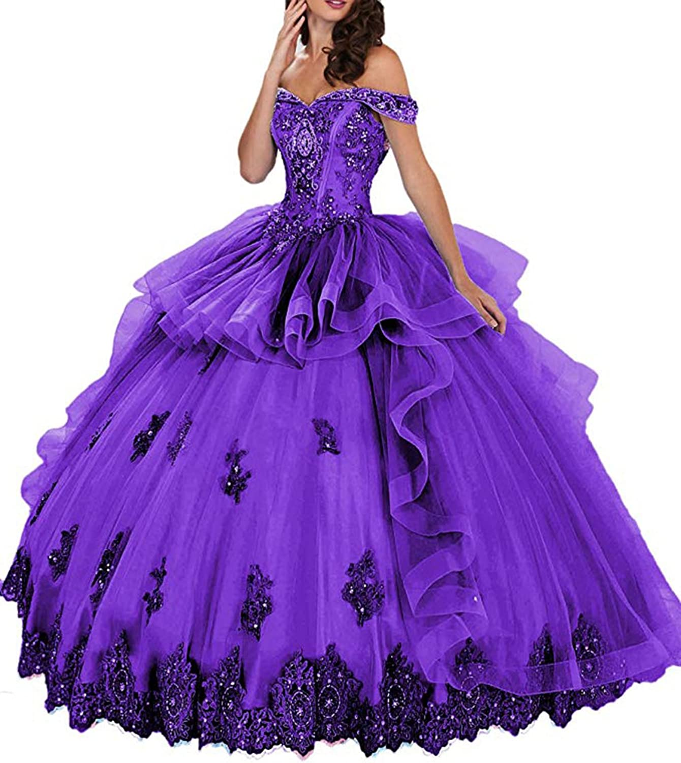 Alilith.Z Sexy Sparkly Crystal Beaded Off The Shoulder Puffy Princess Prom Quinceanera Dresses Ball Gown Appliques