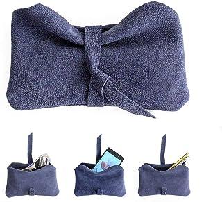 Custodia cellulare, Porta occhiali, Astuccio porta penne, Bustina in pelle NABUK blue o marrone. Camy, little pouch
