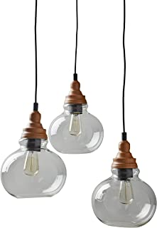 Rivet Glass Mid Century Modern 3 Pendant Chandelier Fixture With 3 Vintage Light Bulbs - 14.25-60 Inch Cord, Brown and Black