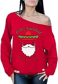 Awkward Styles Feliz Navidad Bitchs Off Shoulder Sweatshirt Mexican Xmas Sweater