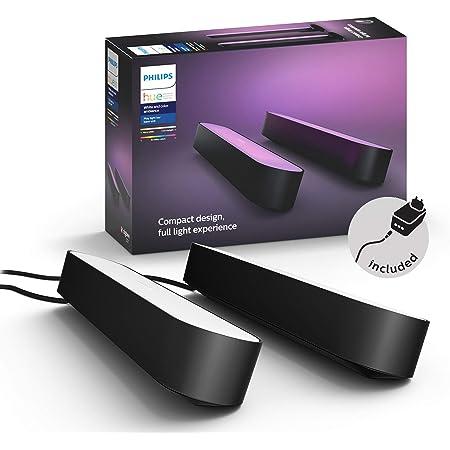 Philips Hue White and Color Ambiance Play Lightbar 2-er Pack, schwarz, bis zu 16 Millionen Farben, steuerbar via App, kompatibel mit Amazon Alexa