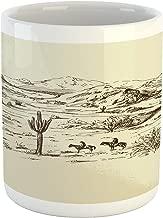 Ambesonne Western Mug, Wild West Landscape Illustration with Mountains Desert Plants Cowboys on Horses, Ceramic Coffee Mug Cup for Water Tea Drinks, 11 oz, Beige Black