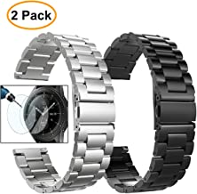 Valkit Compatible Galaxy Watch (46mm) Bands, 2 Pack 22mm Stainless Steel Band, Solid Metal Wrist Band Strap Business Bracelet + Screen Protector Replacement for Samsung Galaxy Watch 46mm SM-R800
