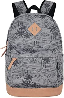 Unisex Lightweight Coconut trees printing art Canvas College Backpacks Travel Hiking Laptop Backpack (Grey Coconut Trees)