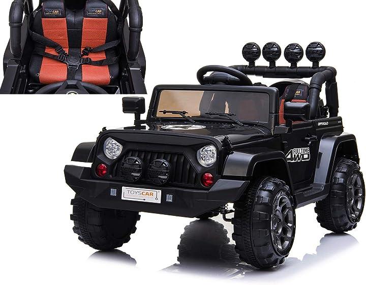 Macchina elettrica fuoristrada adventure per bambini nera 12v mp3 led con telecomando toyscar B07RP2GF68