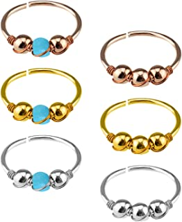 YILIN Nose Hoop Ring,20G 6pcs Stainless Steel Body Jewelry Piercing Turquoise Nose Ring,Tragus Hoop Earring.