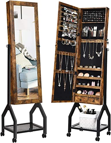 new arrival CHARMAID Industrial outlet sale Jewelry Armoire with Full Length Mirror, Standing Lockable Jewelry Cabinet Organizers, Stable Metal Base with 4 Braking Casters, Adjustable outlet online sale Tilt Angle, Easy Assembly (Brown) online
