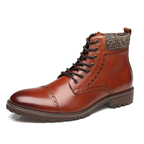 f759cb84dd La Milano Mens Dress Boots Cap Toe Lace up Leather Winter Oxford Casual  Comfortable Ankle Combat