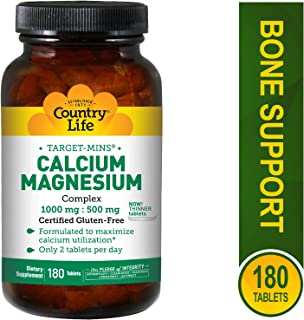 Country Life Target Mins - Calcium Magnesium Complex, 1000 mg/500 mg per 2 Tablets - 180 Tablets
