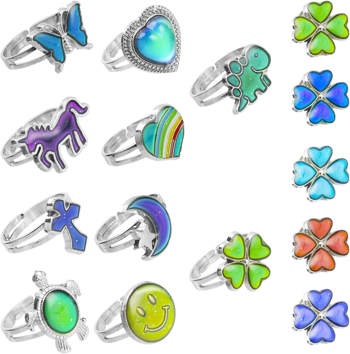 Changing Colors Ring Party Jewelry GA Girls Adjustable Mood Ring ...