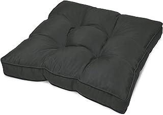 Beautissu Cojín para Muebles de jardín o Mimbre Flair Outdoor - Acolchado Lounge de sillas de Exterior Resistente al Agua - 60x60x10 cm - Gris Grafito