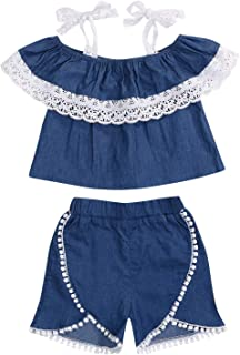 YOUNGER TREE Toddler Kids Baby Girls Rompers One Piece Denim Short Overalls Bow Ruffled Jumpsuit 1-5T - - 4-5T