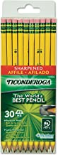 Dixon Ticonderoga Pre-sharpened with Erasers Pencils, 2, Yellow, 2 Boxes of 30 (13830)