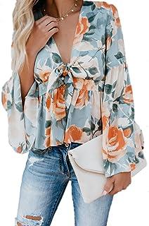 Sophieer Womens Sexy Deep V Neck Long Sleeve Asymmetrical Hem Woven Shirt Blouse S-XXL
