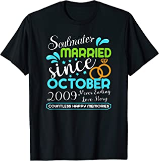 Married Since October 2009, 10th Wedding Anniversary T-Shirt
