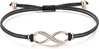 Jrêveinfini Infinito Pulseras Mujer Plata de Ley 925 con 3A Circonia Cúbica, Pulsera Cuerda Hecha a Mano, Ajustable 16+3cm