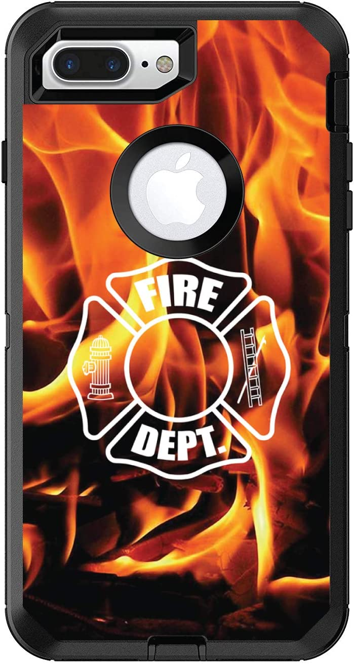 DistinctInk Custom Skin/Decal Compatible with OtterBox Defender for iPhone 7 Plus / 8 Plus - Flames Fire Department Maltese Cross - Show Your Support for First Responders