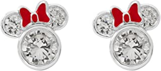 Minnie Mouse Women and Girls Jewelry, Sterling Silver Cubic Zirconia and Red Enamel Bow Detail Stud Earrings Mickey's 90th Birthday Anniversary