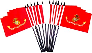 Pack of 12 United States Military Service Miniature Desk & Table Flags Includes 12 Polyester Small Mini Military Stick Flags (4