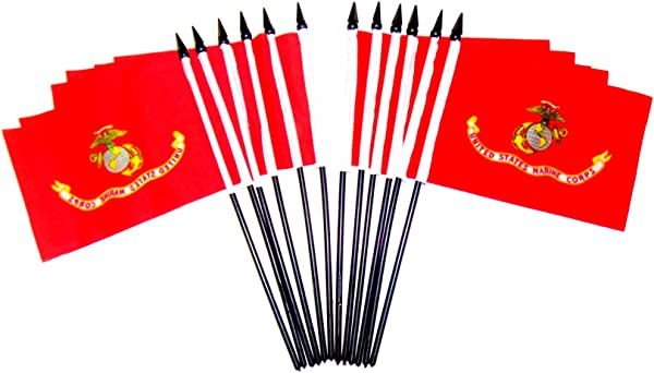 Pack Of 12 United States Military Service Miniature Desk Table Flags Includes 12 Polyester Small Mini Military Stick Flags 4 X6 Marine Corps 12 Polyester Flags