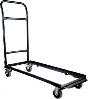 Deluxe Flat Stack Folding Chair Cart - Convertible Dolly Design Holds Plastic, Wood and Resin Chairs - Features Fixed and Locking Casters for Safe Transport - Heavy-Duty Steel